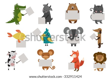 Wild animal zoo strike clean plate board vector cartoon set. Wild vector animals. Jungle animals. Pets silhouette. Vector animals. Fox, lion and monkey. Cat and dog, elephant, crocodile, fish, bear - stock vector