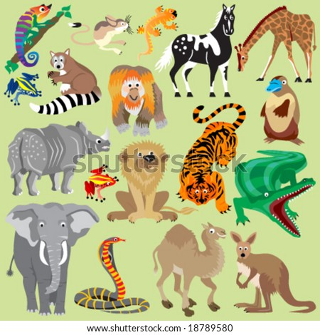 Wild Animals 1 - stock vector