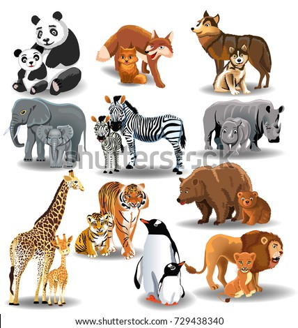 wild animals their babies stock vector  royalty free clipart of a lion's head clipart of a lion's head