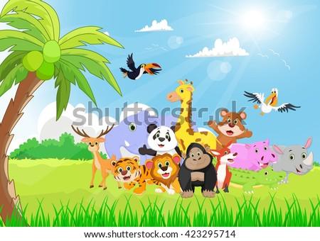 Wild Animals cartoon in the sunny garden - stock vector
