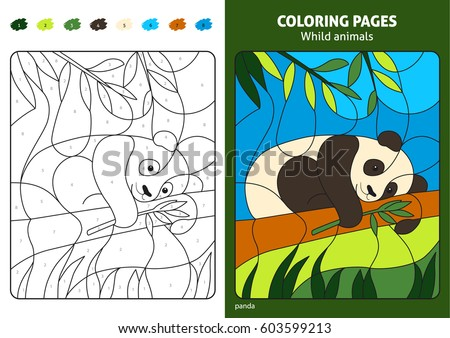 Wild Animals Coloring Page For Kids Panda Bear. Printable Design Coloring  Book. Coloring Puzzle
