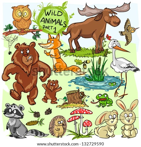 Wild animals, hand drawn collection, part 1. (All objects (animals) are isolated groups so you can move and separate them) - stock vector