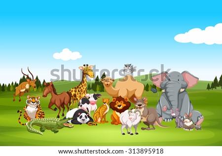 Wild animals in nature illustration - stock vector