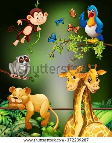Wild animals living in the forest illustration