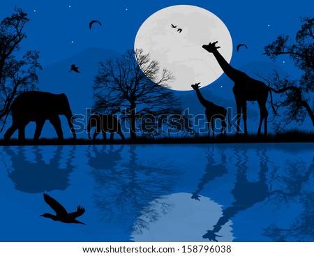 Wild animals over blue sunset, vector illustration - stock vector