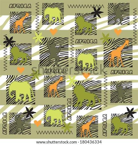 wild animals pattern vector illustration - stock vector