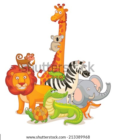 Wild Animals, posing together. Funny cartoon character. Vector illustration. Isolated on white background. Set - stock vector