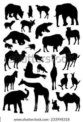 Wild Animals Silhouettes - stock vector