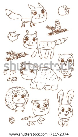 wild animals vector drawings cartoon set
