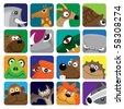 wild animals vector icon set - stock vector