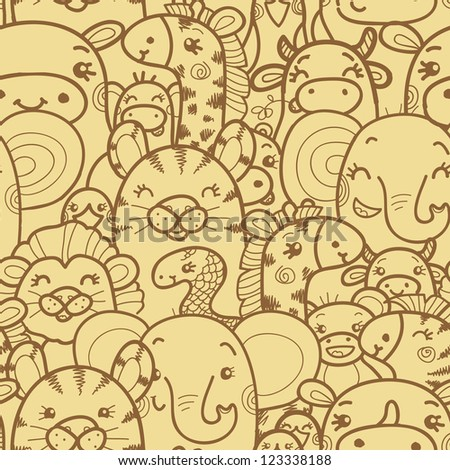 Wild animals vector seamless pattern background with hand drawn elements. - stock vector