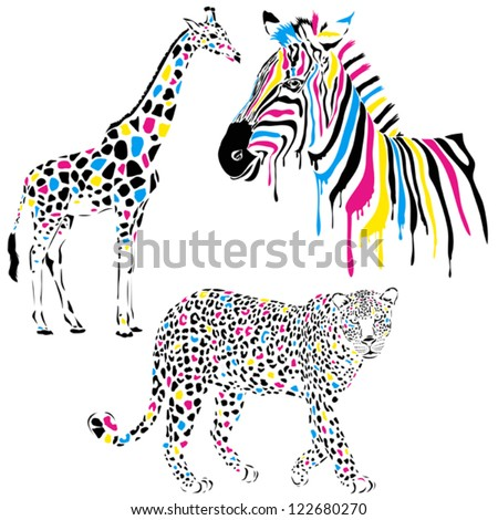 Wild animals vector set with giraffe, zebra and leopard in cmyk-concept style - stock vector
