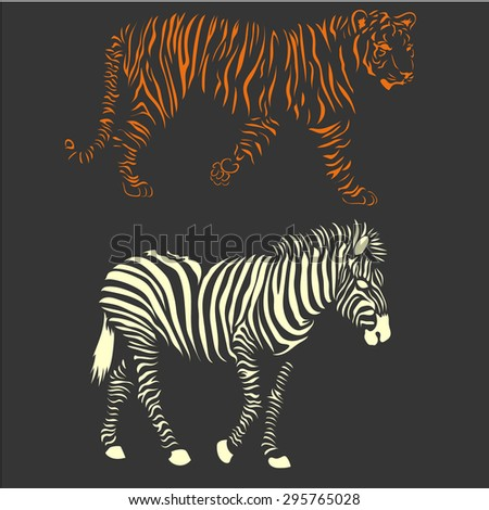 Wild animals vector set with zebra and tiger - stock vector