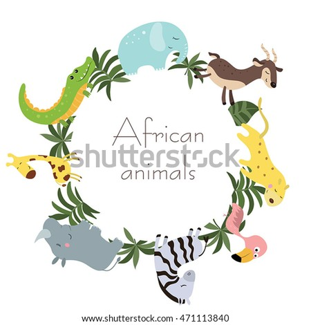 Wild animals walking around the white circle with place for text. White background.