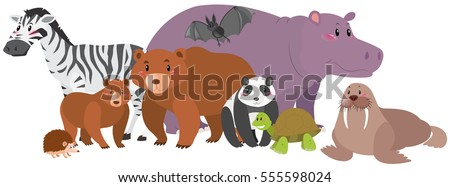 Wild animals with happy face illustration