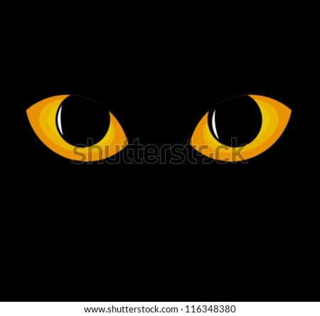 Wild black cat eyes in darkness. Vector illustration - stock vector