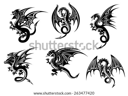 Wild black dragons for tattoo or mascot design - stock vector