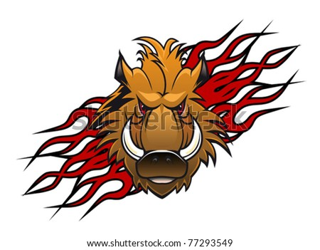Wild boar head in cartoon style as a tattoo or mascot, such a logo. Jpeg version also available - stock vector