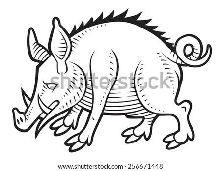 Wild boar in vintage medieval gravure style  - stock vector
