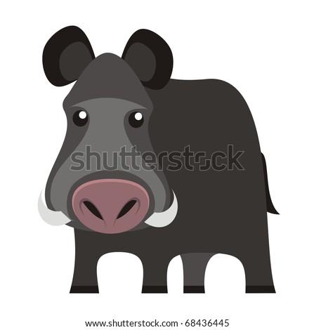 Wild boar - Woodland animal cartoon isolated on white background color vector illustration