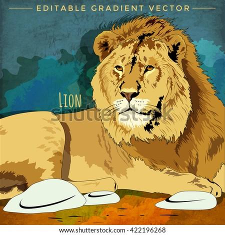 Wild Cats. Lion - stock vector