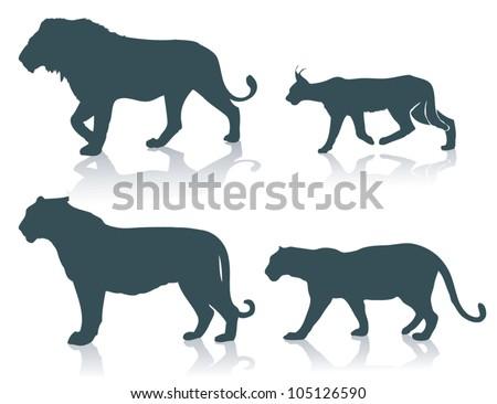 Wild cats - vector illustration - stock vector