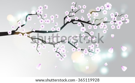 Wild cherry branch with a flowers. - stock vector