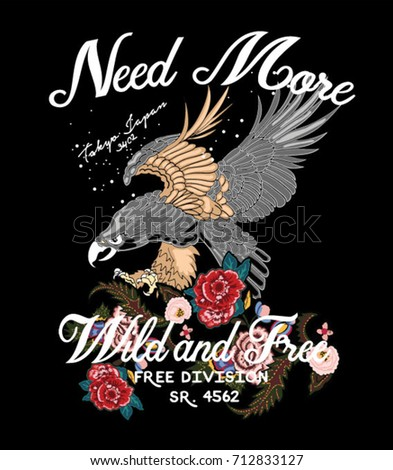 wild eagle with flowers and type