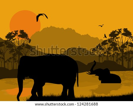 Wild elephants at sunset on beautiful landscape, vector illustration - stock vector