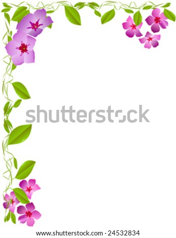 Wild flower and green vines letter size - stock vector