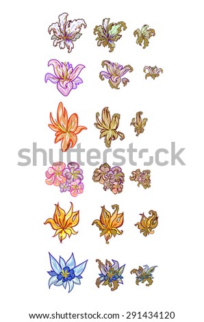 wild flowers. animation withering. vector - stock vector