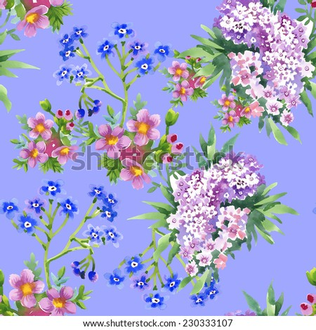 Wild flowers seamless pattern on blue background vector illustration