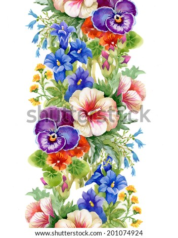 Wild flowers seamless pattern on white background vector - stock vector