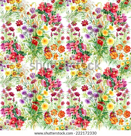 Wild flowers seamless pattern on white background vector illustration - stock vector