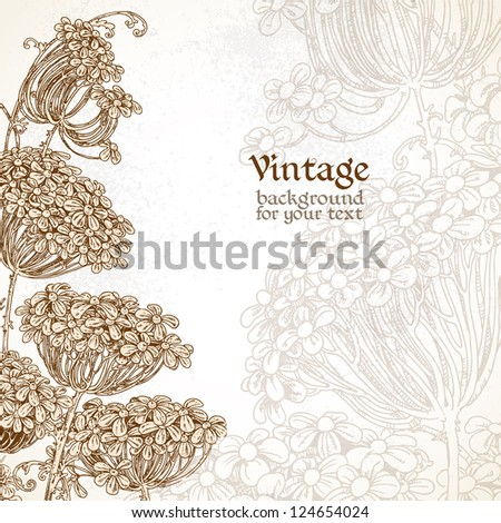 Wild flowers - umbrellas vintage background for your text - stock vector