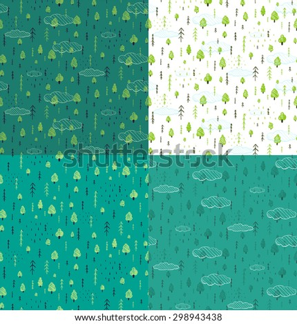 Wild Forest Hand Drawn Seamless Pattern Background Set. Wallpaper tileable wild nature wood drawing background scattered illustration.  - stock vector