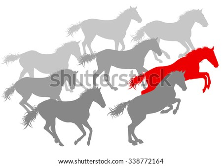 Wild horse fast and strong winner concept vector background isolated over white