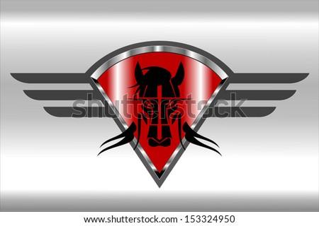 wild horse icon on the red metallic winged diamond shield - stock vector