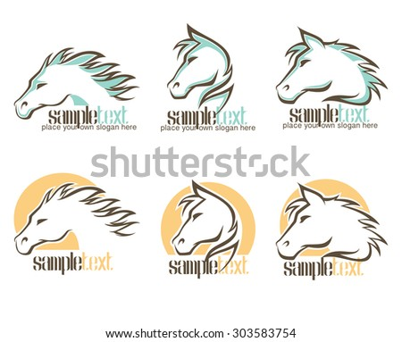 wild horse logo, vector symbols and emblems collection - stock vector