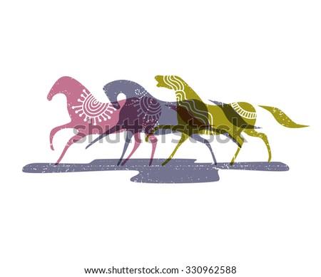Wild horses, eps10 vector illustration - stock vector
