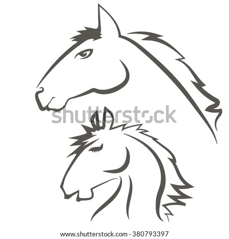 Wild Horses Icons Isolated on White Background