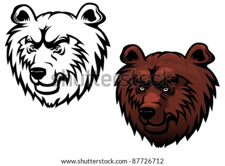 Wild kodiak bear as a mascot or tattoo isolated on white, such a logo. Rasterized version also available in gallery - stock vector