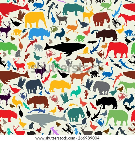 Wild life animal silhouettes  seamless pattern design in retro style colors - stock vector