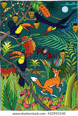 Wild Life in the Jungle - stock vector