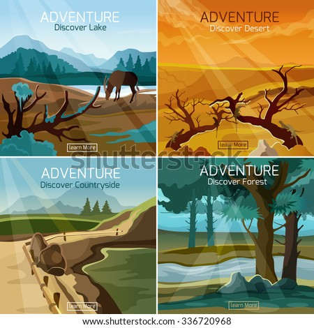 Wild nature landscapes 4 flat icons composition banner set with countryside forest lake abstract isolated vector illustration - stock vector
