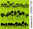Wild nettle, rhubarb and larkspur plants detailed silhouettes illustration collection background vector - stock vector