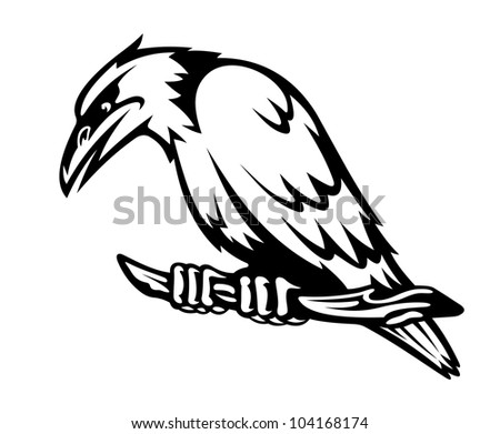 Wild raven on the branch. Vector illustration - stock vector