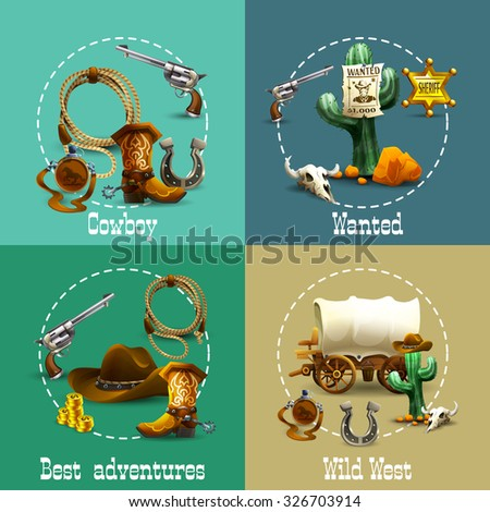 Wild west adventures realistic icons set with cowboy and wanted symbols isolated vector illustration  - stock vector