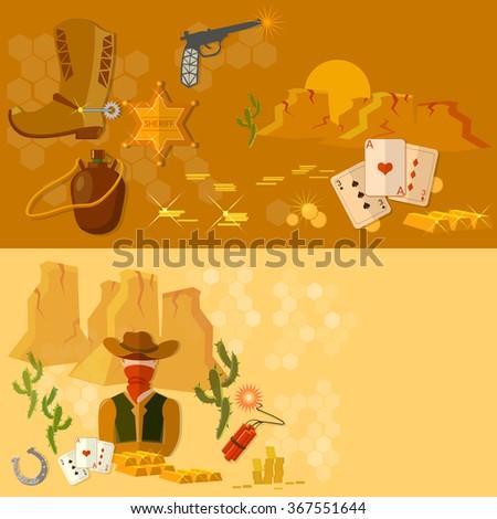 Wild west  banners western cowboy landscape vector illustration - stock vector