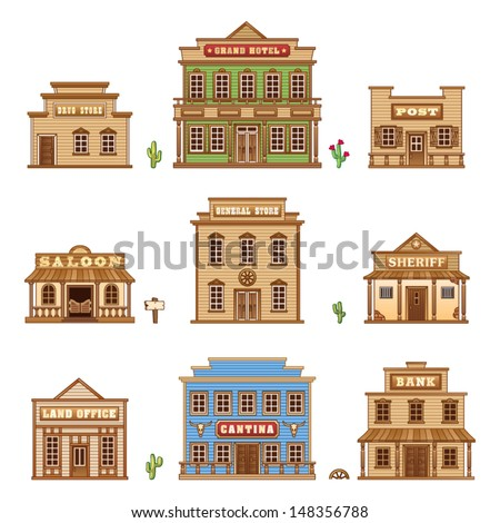 Wild West buildings - stock vector